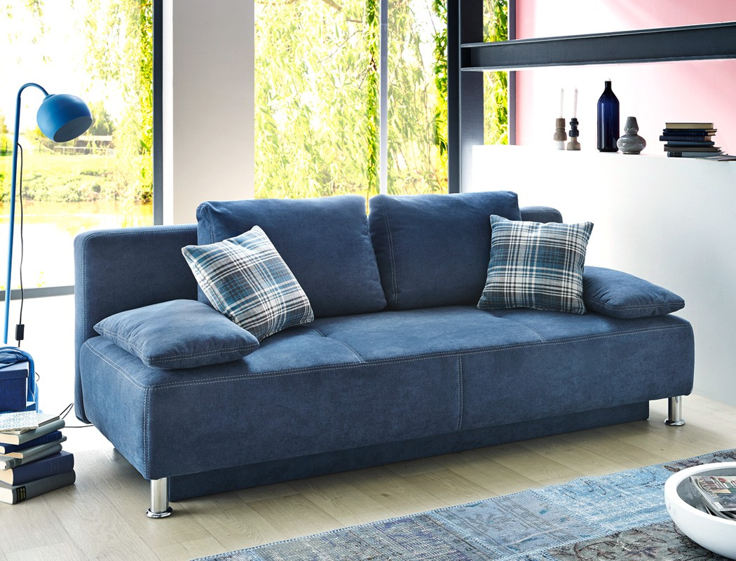 funktionssofa 203x97 cm mikrofaser blau schlafsofa sofa couch schlafsofa carlo ebay. Black Bedroom Furniture Sets. Home Design Ideas