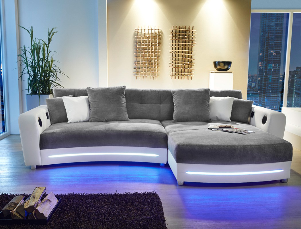 multimedia sofa 322x200cm grau wei mikrofaser couch hifi. Black Bedroom Furniture Sets. Home Design Ideas