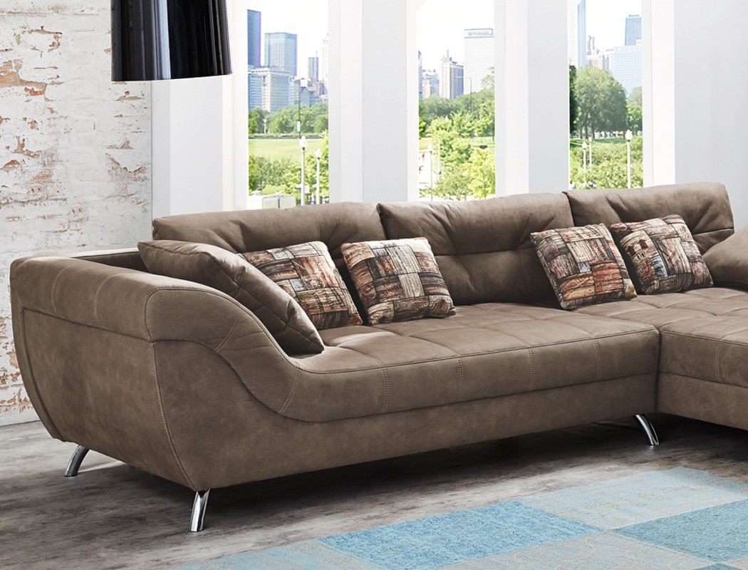 wohnlandschaft 355x218 cm mikrofaser hellbraun antiklederoptik couch sofa sancho ebay. Black Bedroom Furniture Sets. Home Design Ideas