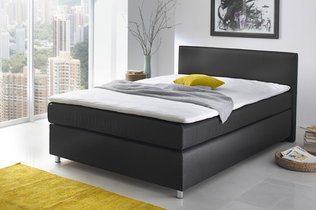 boxspringbett ascan 140x200cm bezug schwarz singlebett jugendbett wohnbereiche schlafzimmer. Black Bedroom Furniture Sets. Home Design Ideas