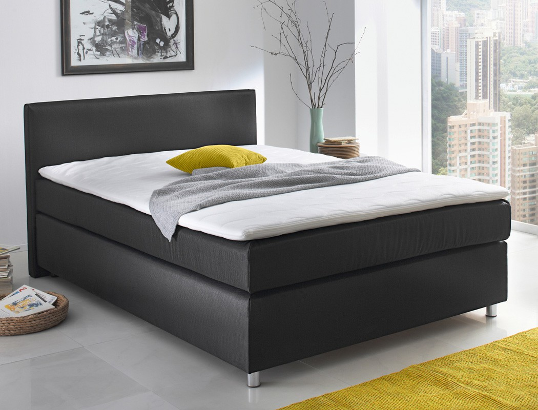 boxspringbett ascan 140x200cm bezug schwarz singlebett. Black Bedroom Furniture Sets. Home Design Ideas