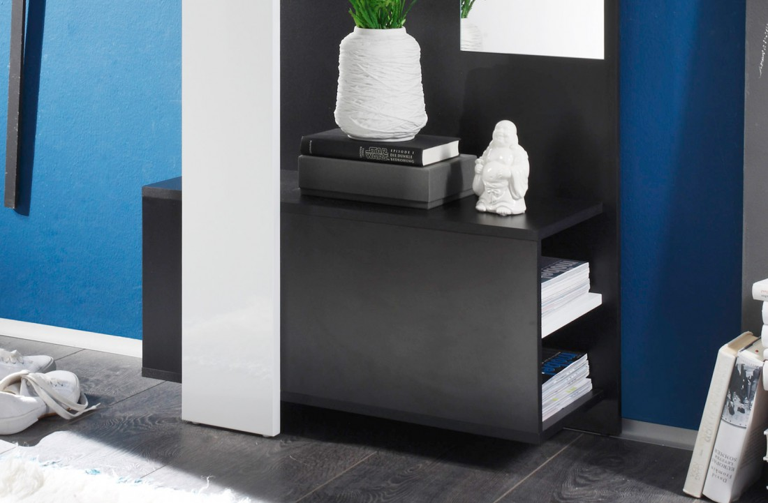 garderobe schwarz wei 75x200x33cm wandgarderobe flurgarderobe wandpaneel smart ebay. Black Bedroom Furniture Sets. Home Design Ideas