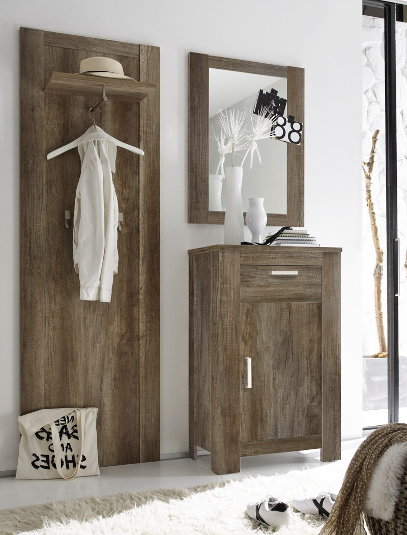 garderobe set charlie 3 teilig eiche monument paneel. Black Bedroom Furniture Sets. Home Design Ideas
