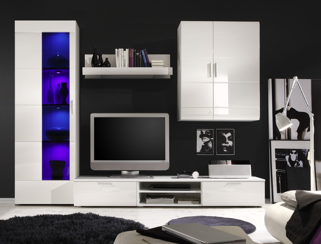 wohnwand shane 265x197x47cm wei hochglanz schrankwand wohnzimmer led wohnbereiche wohnzimmer. Black Bedroom Furniture Sets. Home Design Ideas