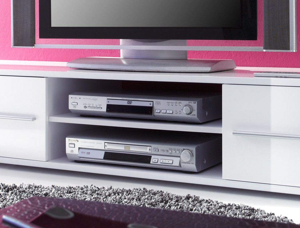 lowboard spiros 175x32x47 cm wei hochglanz tv board unterschrank wohnbereiche wohnzimmer. Black Bedroom Furniture Sets. Home Design Ideas