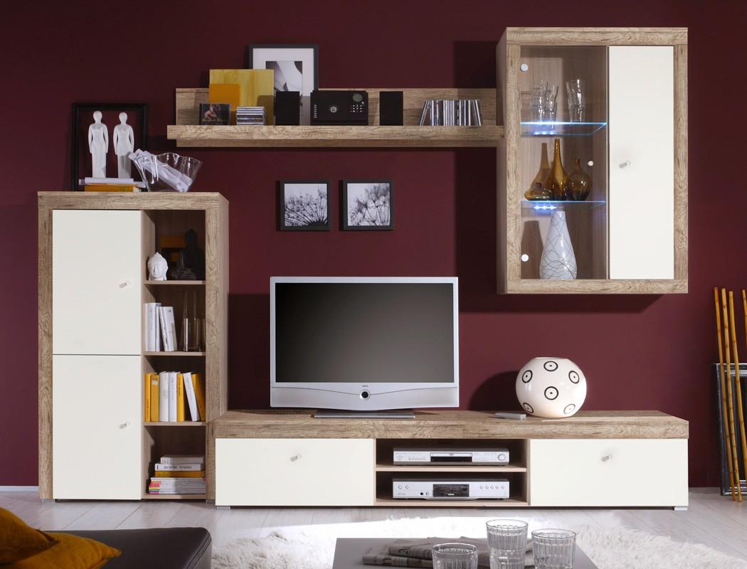 wohnwand lamount b 284x202x50 cm eiche magnolie schrank wohnzimmer led wohnbereiche wohnzimmer. Black Bedroom Furniture Sets. Home Design Ideas