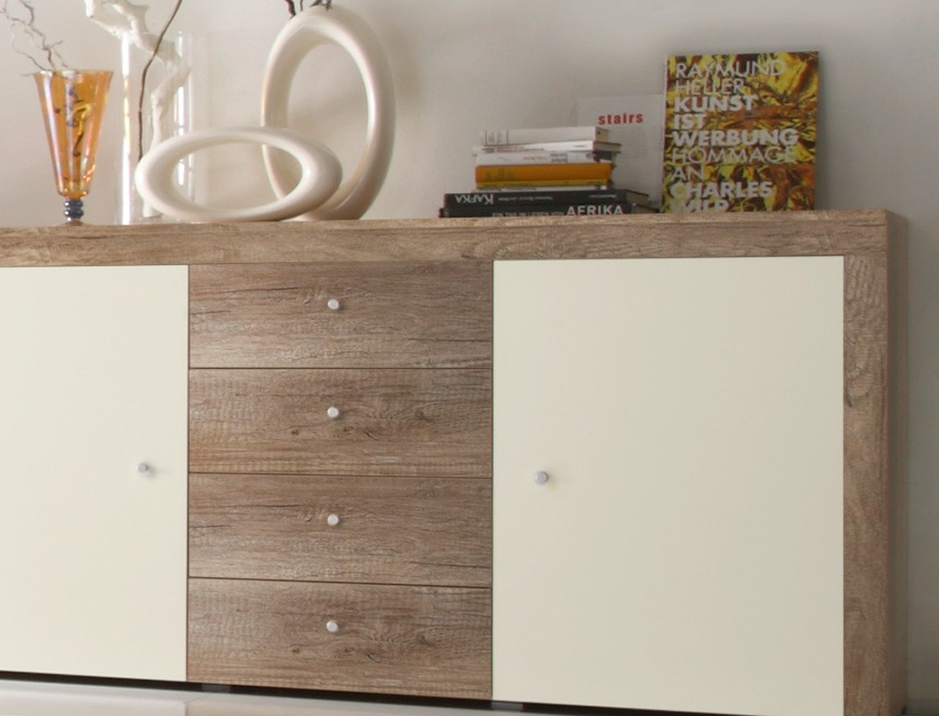 sideboard eiche magnolie 174x90x40 cm anrichte kommode wohnzimmerschrank lamount ebay. Black Bedroom Furniture Sets. Home Design Ideas