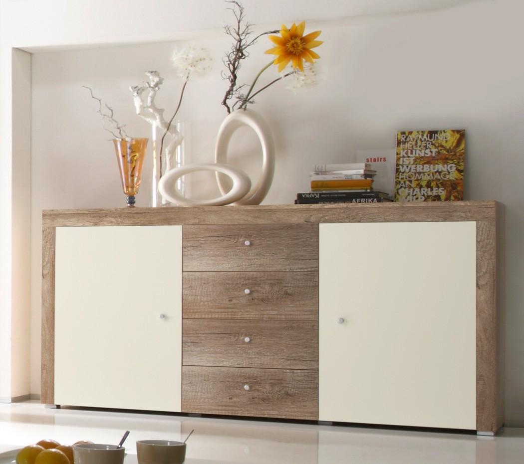 sideboard eiche magnolie 174x90x40 cm anrichte kommode wohnzimmerschrank lamount ebay. Black Bedroom Furniture Sets. Home Design Ideas