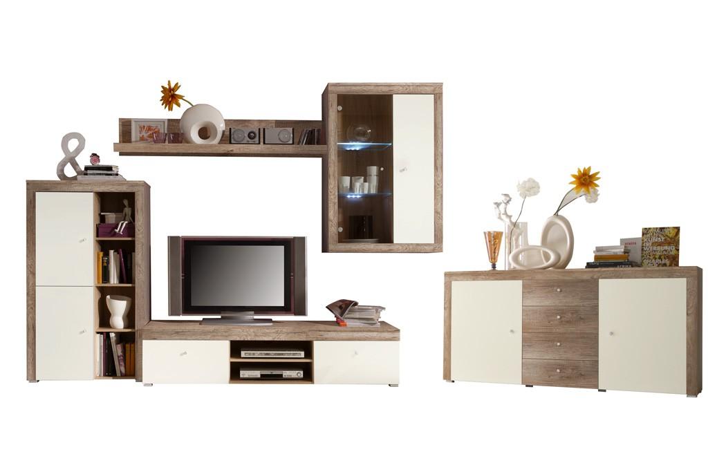 Wohnzimmer lamount d 289 bis 463x202 eiche magnolie for Tv schrankwand design