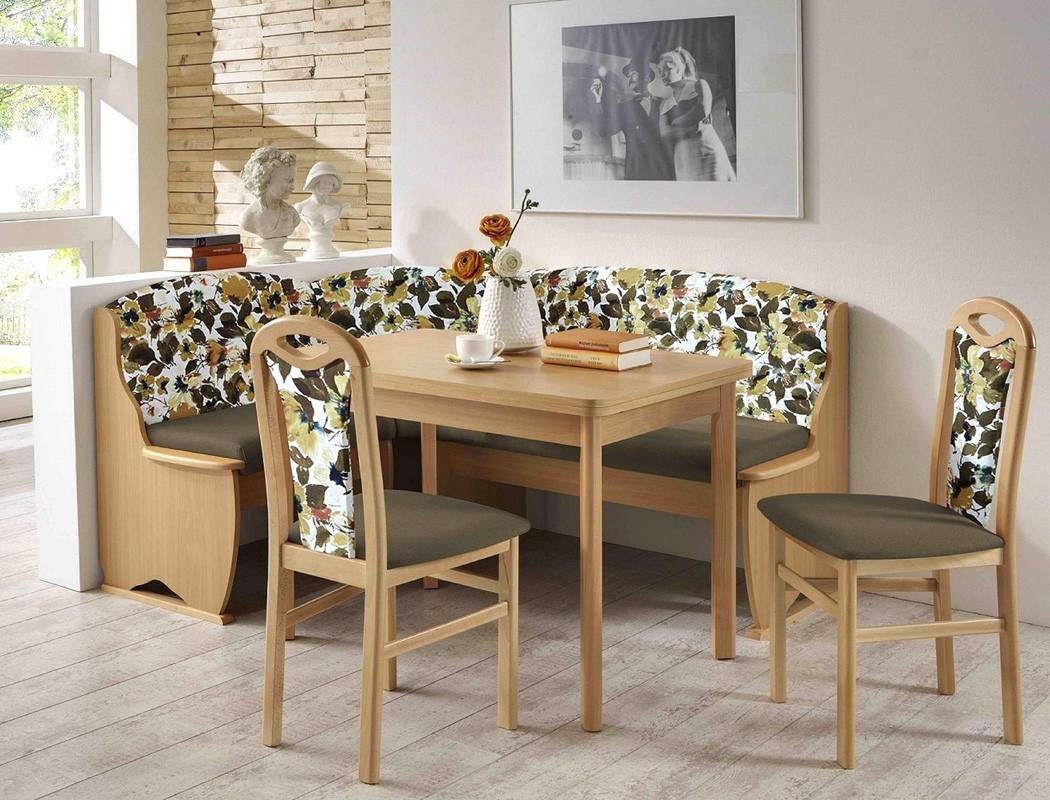 eckbankgruppe tilda 1 buche braun floral eckbank 2x stuhl ausziehtisch wohnbereiche esszimmer. Black Bedroom Furniture Sets. Home Design Ideas