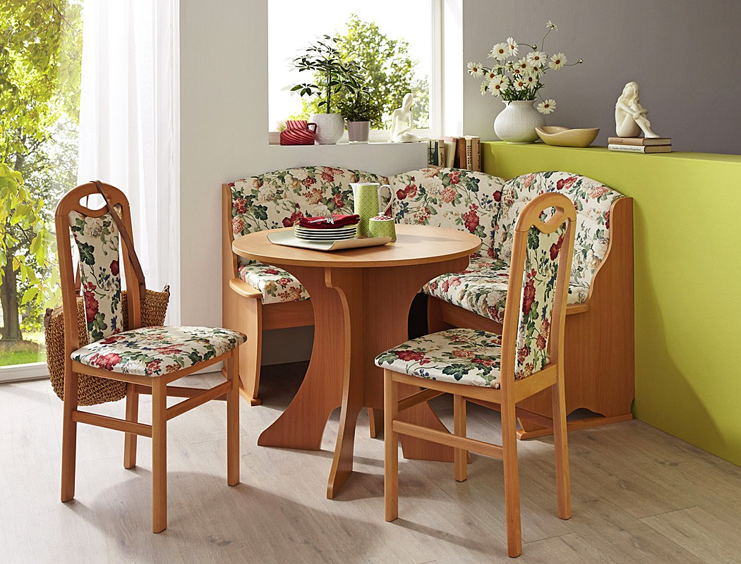 Eckbankgruppe buche cremewei floral 2x stuhl rundtisch for Design stuhl flora