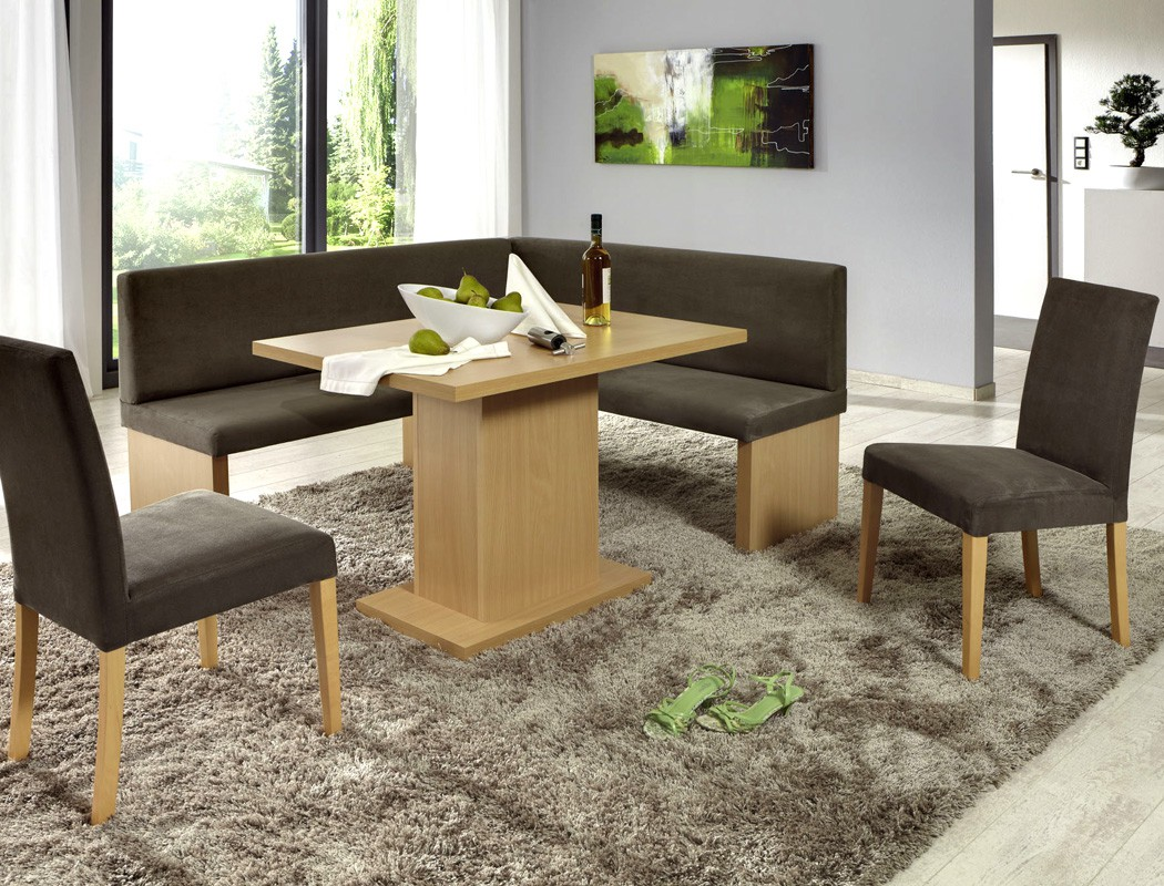 Eckbankgruppe charly buche braun 160x140 cm 2x stuhl for Design stuhl charly