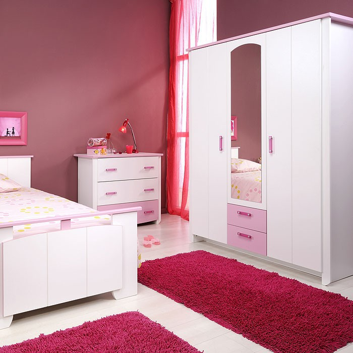 parisot kleiderschrank biotiful 11 wei rosa 136x181x56 3. Black Bedroom Furniture Sets. Home Design Ideas