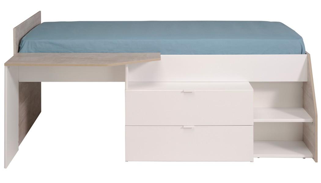 hochbett mika f r m dchen und jungen 90x200cm wei grau. Black Bedroom Furniture Sets. Home Design Ideas
