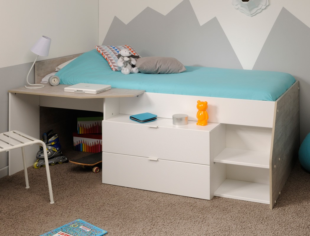 hochbett f r m dchen und jungen 90x200cm wei grau kinderbett kommode mika ebay. Black Bedroom Furniture Sets. Home Design Ideas