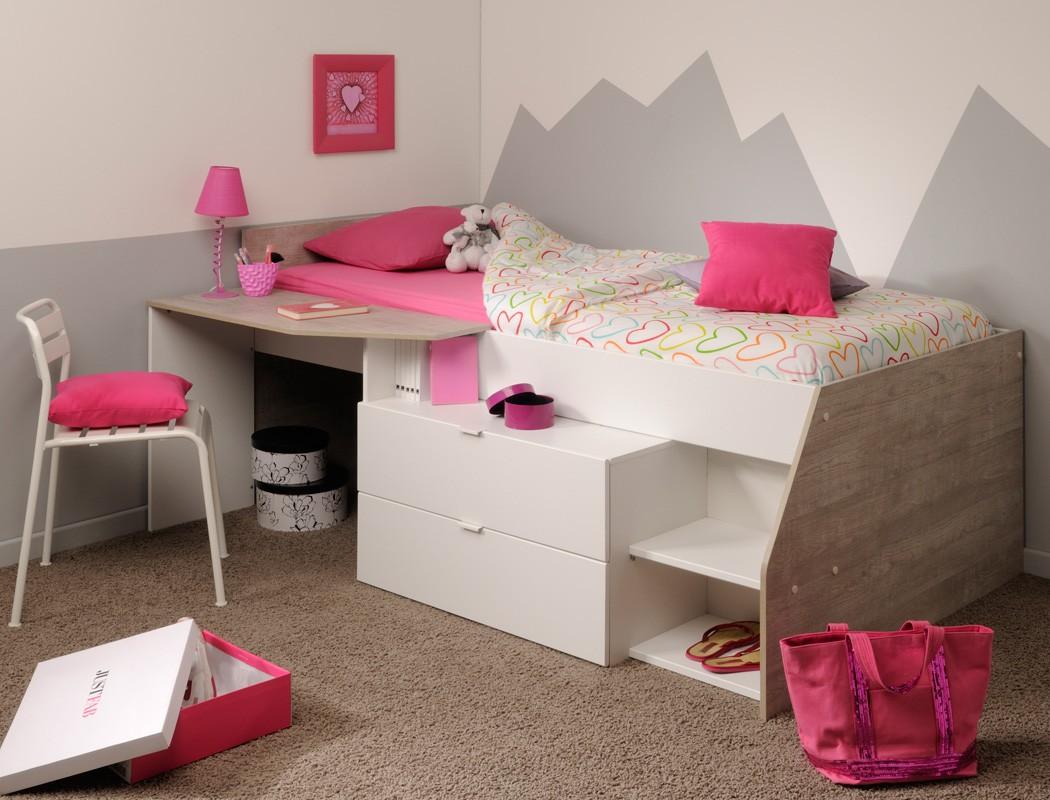 hochbett f r m dchen und jungen 90x200cm wei grau. Black Bedroom Furniture Sets. Home Design Ideas