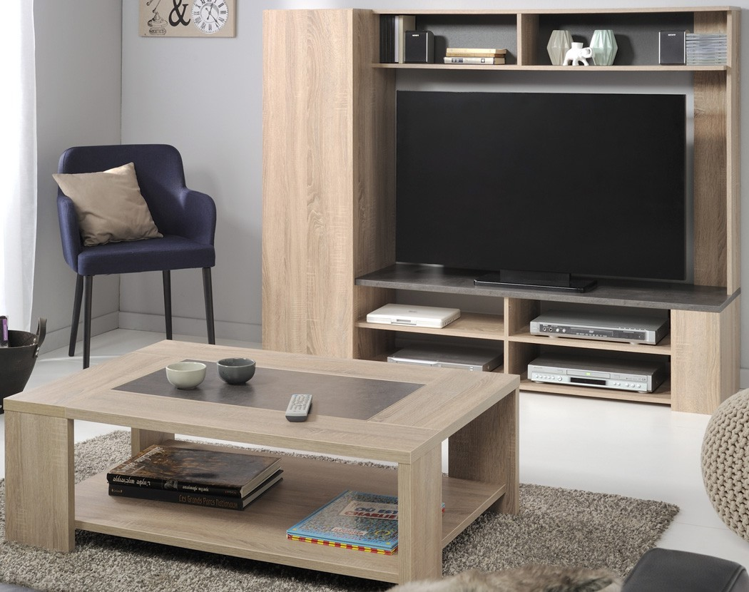 wohnzimmer fumio 4 eiche natur nachbildung steinoptik tv wand tisch wohnbereiche wohnzimmer. Black Bedroom Furniture Sets. Home Design Ideas
