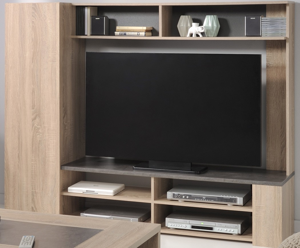 tv wand eiche natur nachbildung steinoptik tv m bel. Black Bedroom Furniture Sets. Home Design Ideas