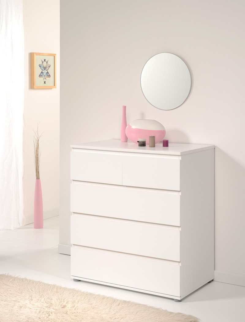 kommode neolie 5 weiss 81x91x50 cm schubkastenkommode. Black Bedroom Furniture Sets. Home Design Ideas