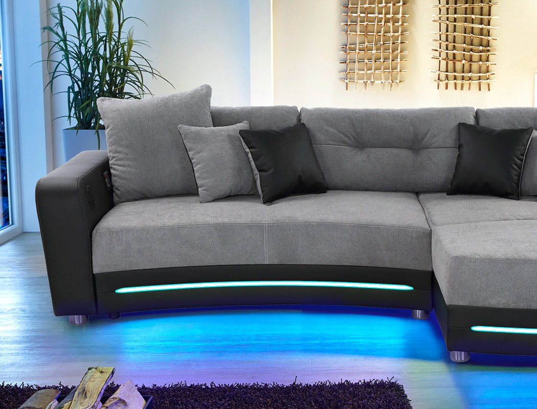 multimedia sofa larenio hifi wohnlandschaft 322x200 cm grau schwarz wohnbereiche wohnzimmer sofa. Black Bedroom Furniture Sets. Home Design Ideas