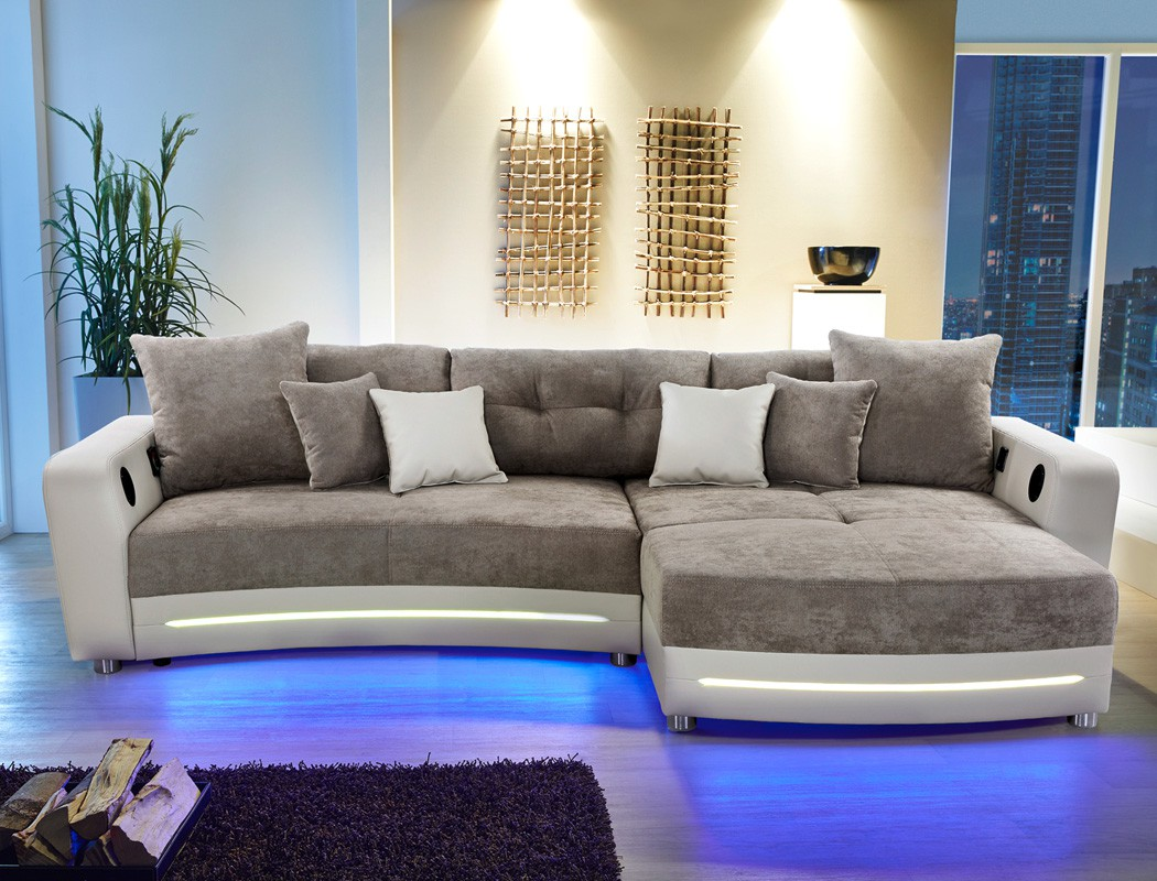 multimedia sofa 322x200cm greige mikrofaser couch hifi wohnlandschaft larenio ebay. Black Bedroom Furniture Sets. Home Design Ideas