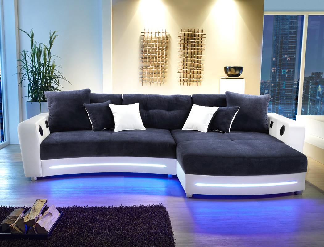 multimedia sofa larenio hifi wohnlandschaft 322x200cm dunkelblau wei mikrofaser ebay. Black Bedroom Furniture Sets. Home Design Ideas