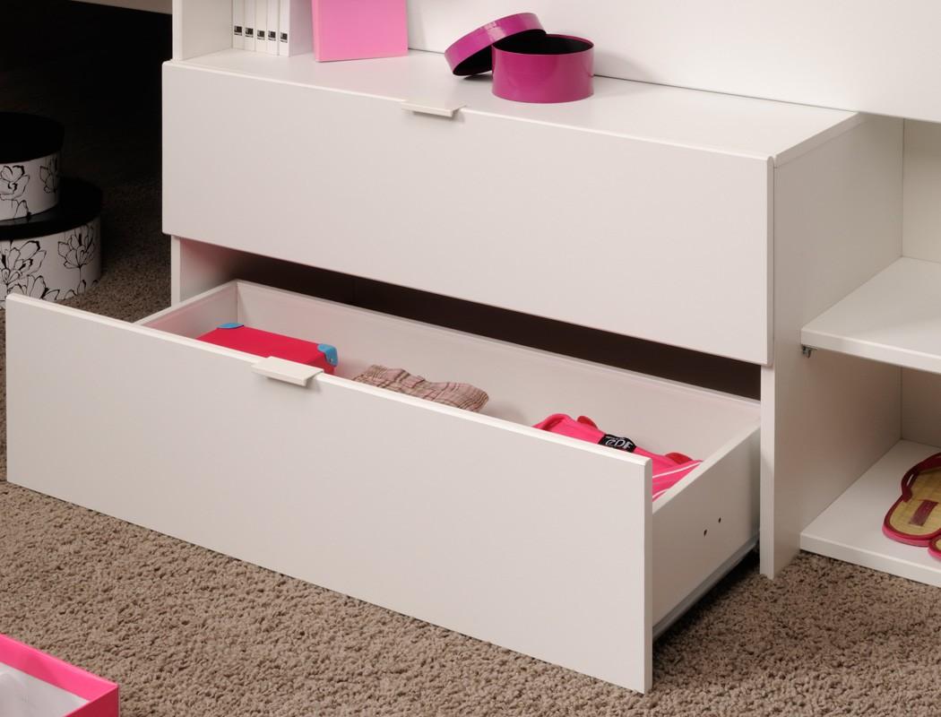 Jugendzimmer Hochbett Weiß : Hochbett mika b wei? grau kinderbett jugendzimmer