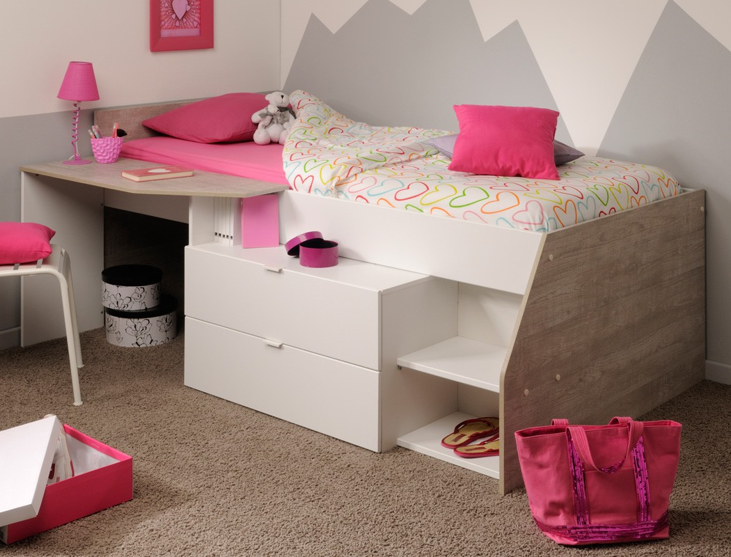 hochbett mika b 90x200 wei grau kinderbett jugendzimmer. Black Bedroom Furniture Sets. Home Design Ideas