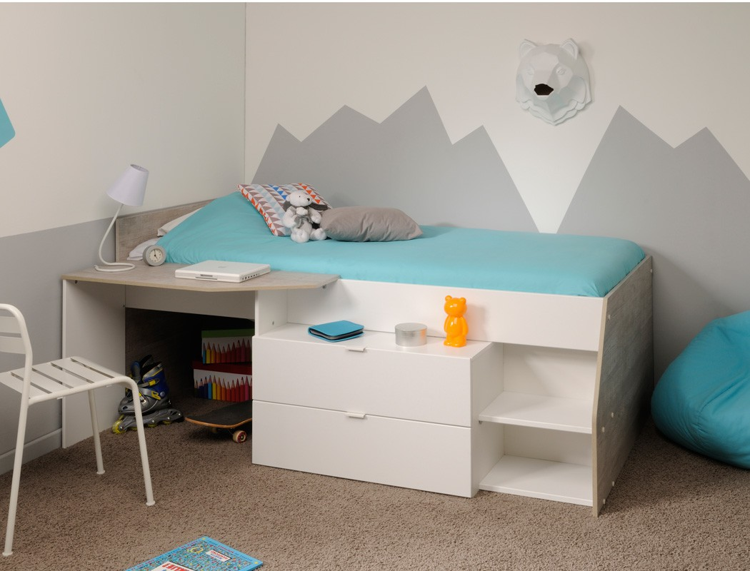 hochbett mika a 90x200 wei grau kinderbett jugendzimmer. Black Bedroom Furniture Sets. Home Design Ideas