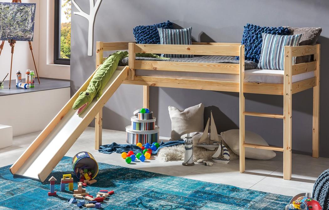 hochbett mit rutsche kimball 90x200 kiefer lackiert massivholz bett wohnbereiche schlafzimmer. Black Bedroom Furniture Sets. Home Design Ideas