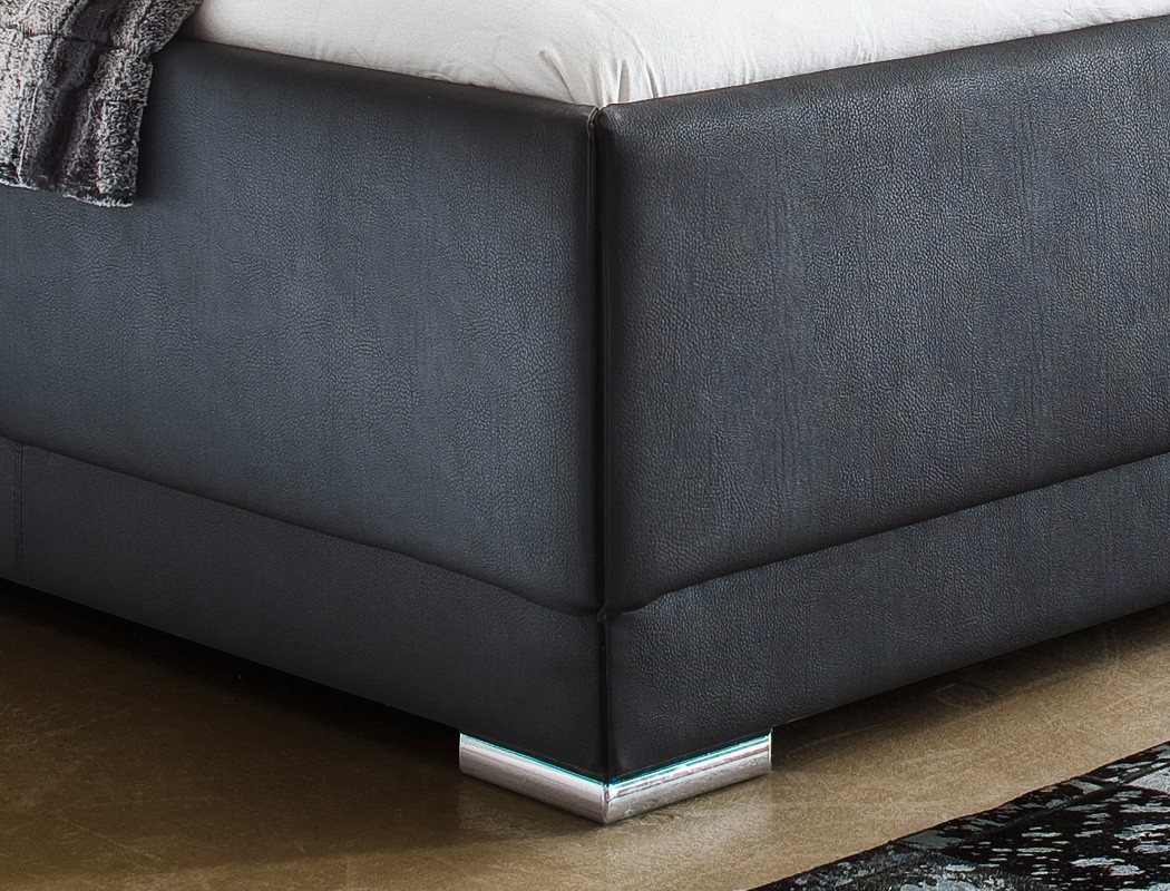 polsterbett solea kunstleder schwarz boxspring optik. Black Bedroom Furniture Sets. Home Design Ideas