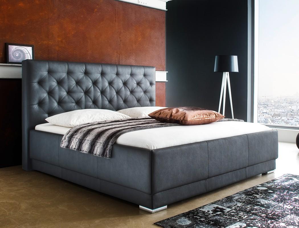 polsterbett kunstleder schwarz boxspring optik doppelbett. Black Bedroom Furniture Sets. Home Design Ideas