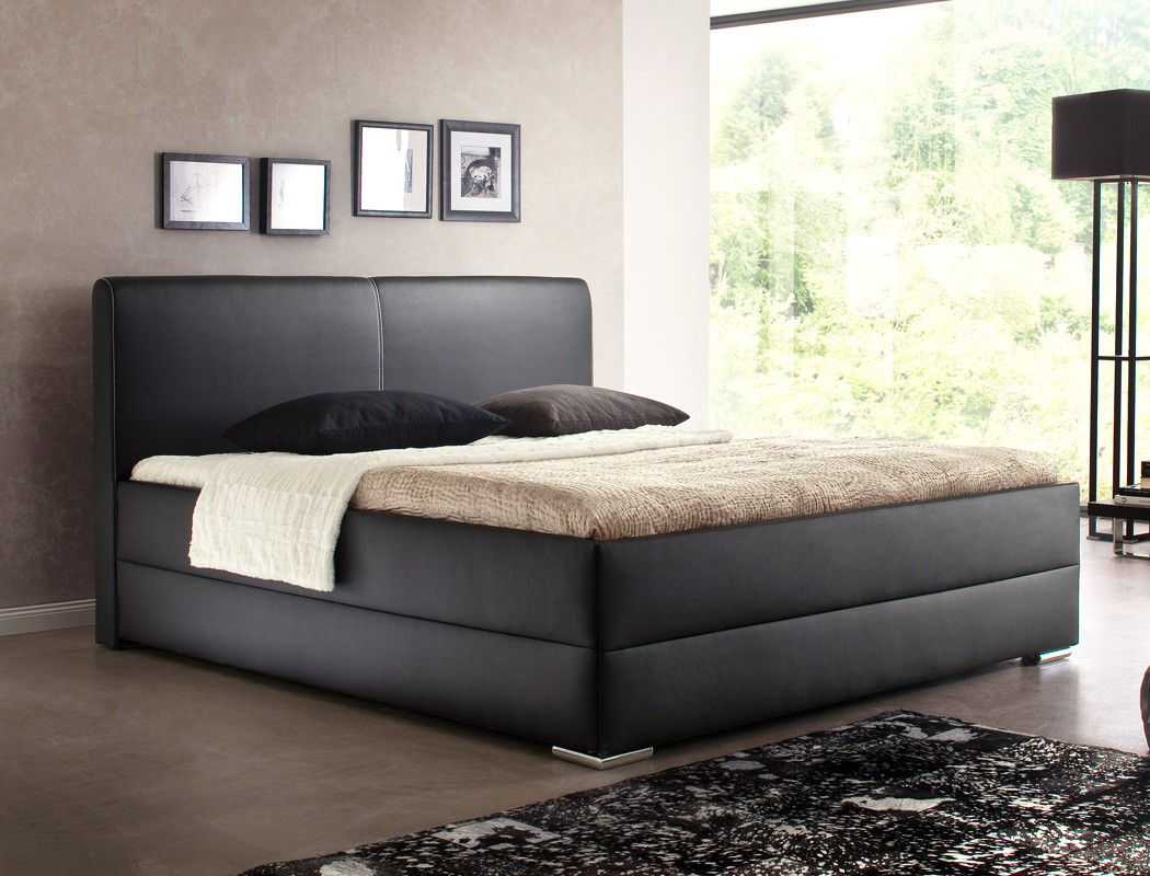 polsterbett maceo kunstleder schwarz boxspring optik doppelbett bett wohnbereiche schlafzimmer. Black Bedroom Furniture Sets. Home Design Ideas