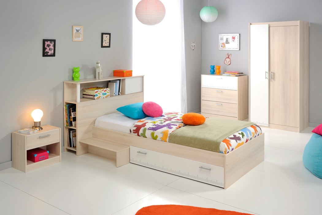 Jugendzimmer bett 90x200 akazie nb regal nako kommode for Jugendzimmer jungen 16