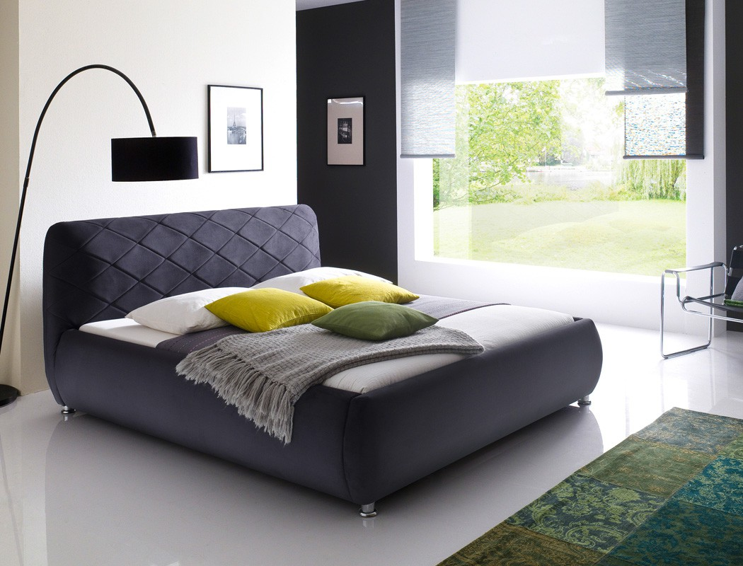 polsterbett antoni bett 180x200 cm anthrazit bezugstoff doppelbett wohnbereiche schlafzimmer. Black Bedroom Furniture Sets. Home Design Ideas