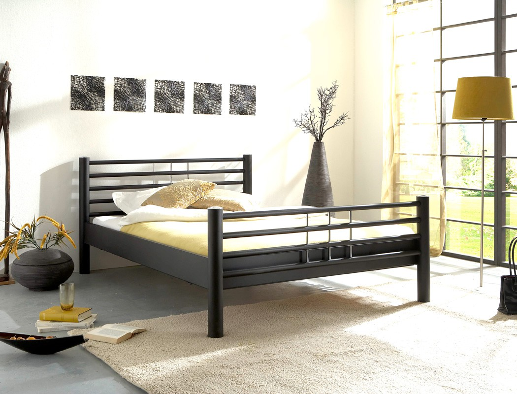 metallbett schwarz matt struktur gr e nach wahl. Black Bedroom Furniture Sets. Home Design Ideas