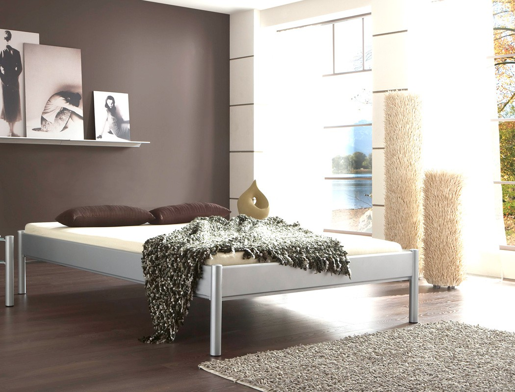 Metallbett simona dunkelgrau gr e nach wahl futonbett for Doppelbett jugendzimmer
