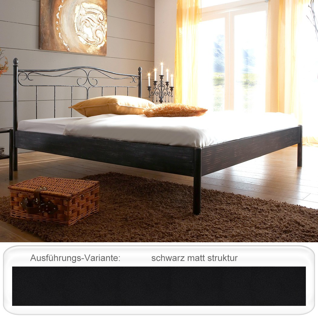 metallbett schwarz matt struktur gr e nach wahl futonbett doppelbett bett paros. Black Bedroom Furniture Sets. Home Design Ideas