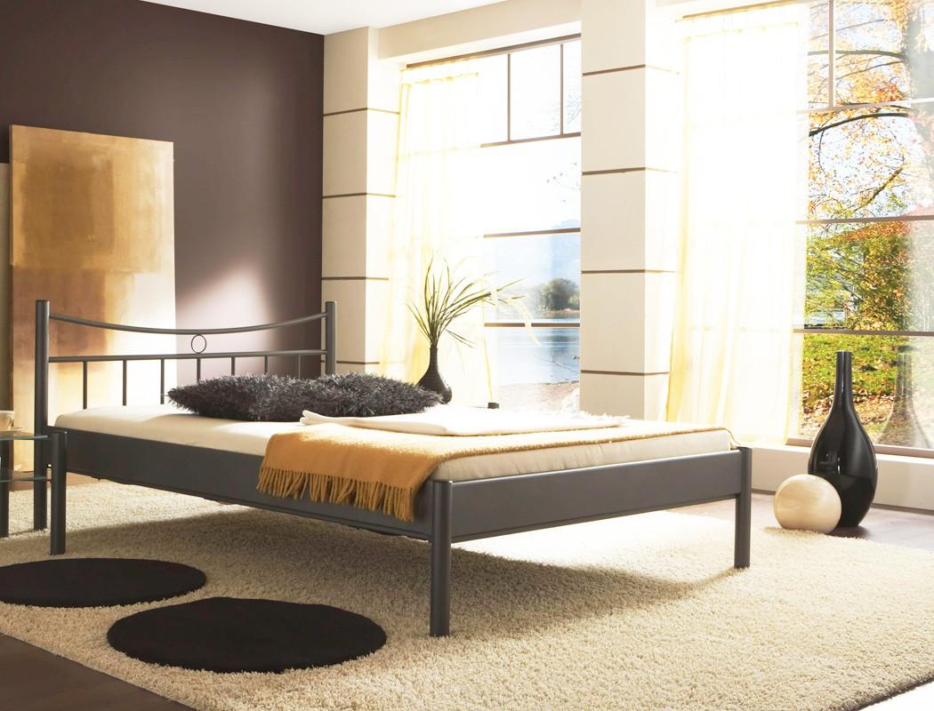 Metallbett safia dunkelgrau gr e nach wahl futonbett for Doppelbett jugendzimmer