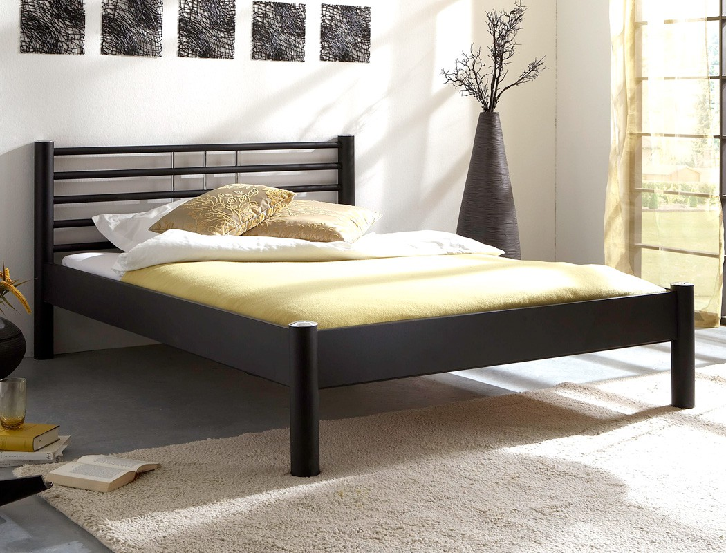 metallbett cara schwarz matt struktur gr e nach wahl. Black Bedroom Furniture Sets. Home Design Ideas