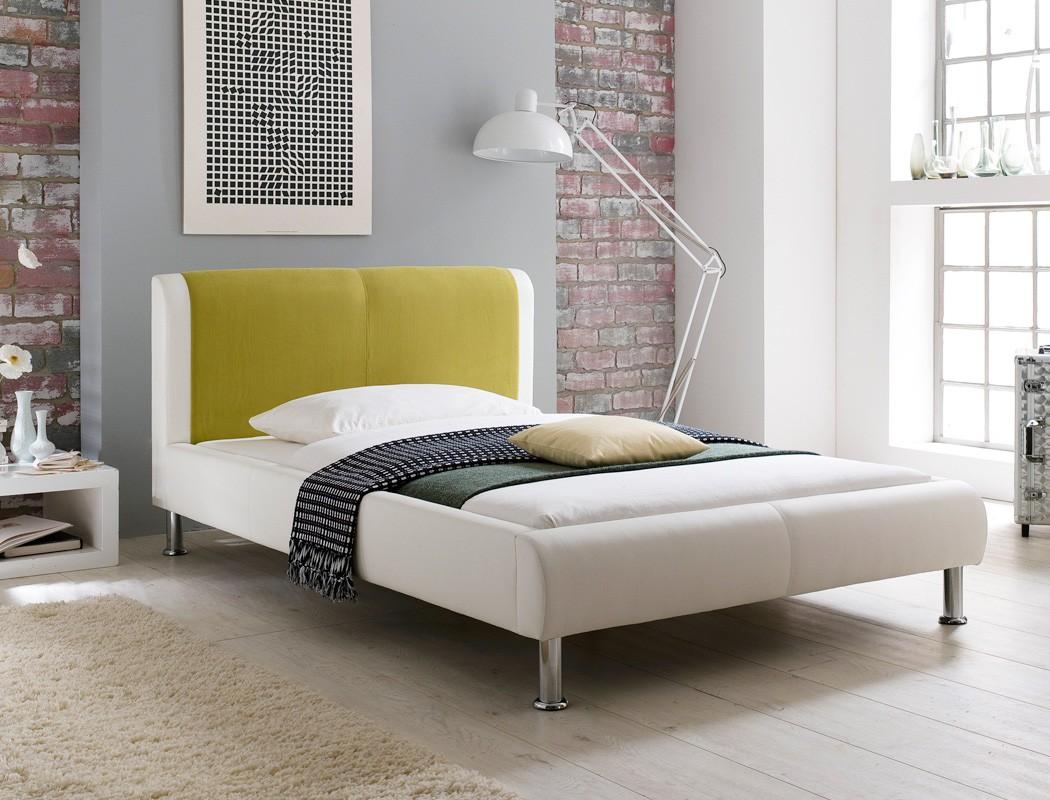 Polsterbett bett 120x200 cremewei gr n designerbett for Bett 120x200 jugendzimmer