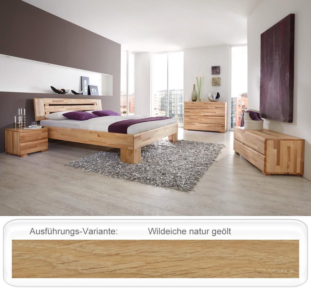 schlafzimmer eiche massivholzbett kommode lowboard nachttisch bett losone ebay. Black Bedroom Furniture Sets. Home Design Ideas