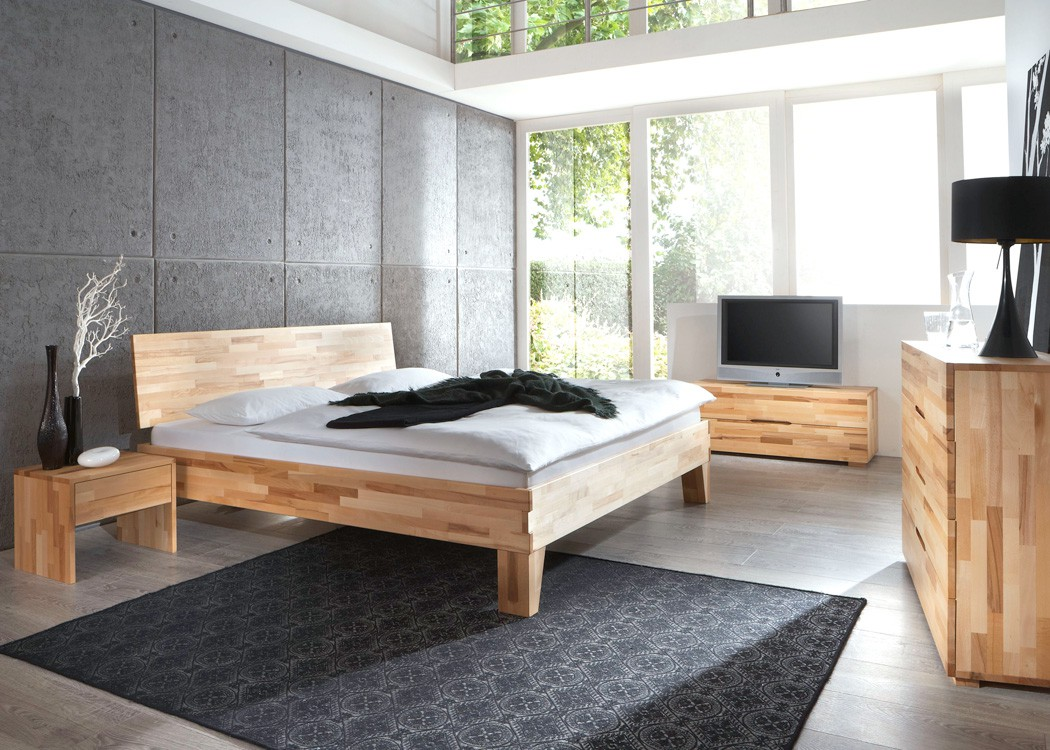 schlafzimmer buche massivholzbett kommode lowboard nachttisch bett wallis ebay. Black Bedroom Furniture Sets. Home Design Ideas
