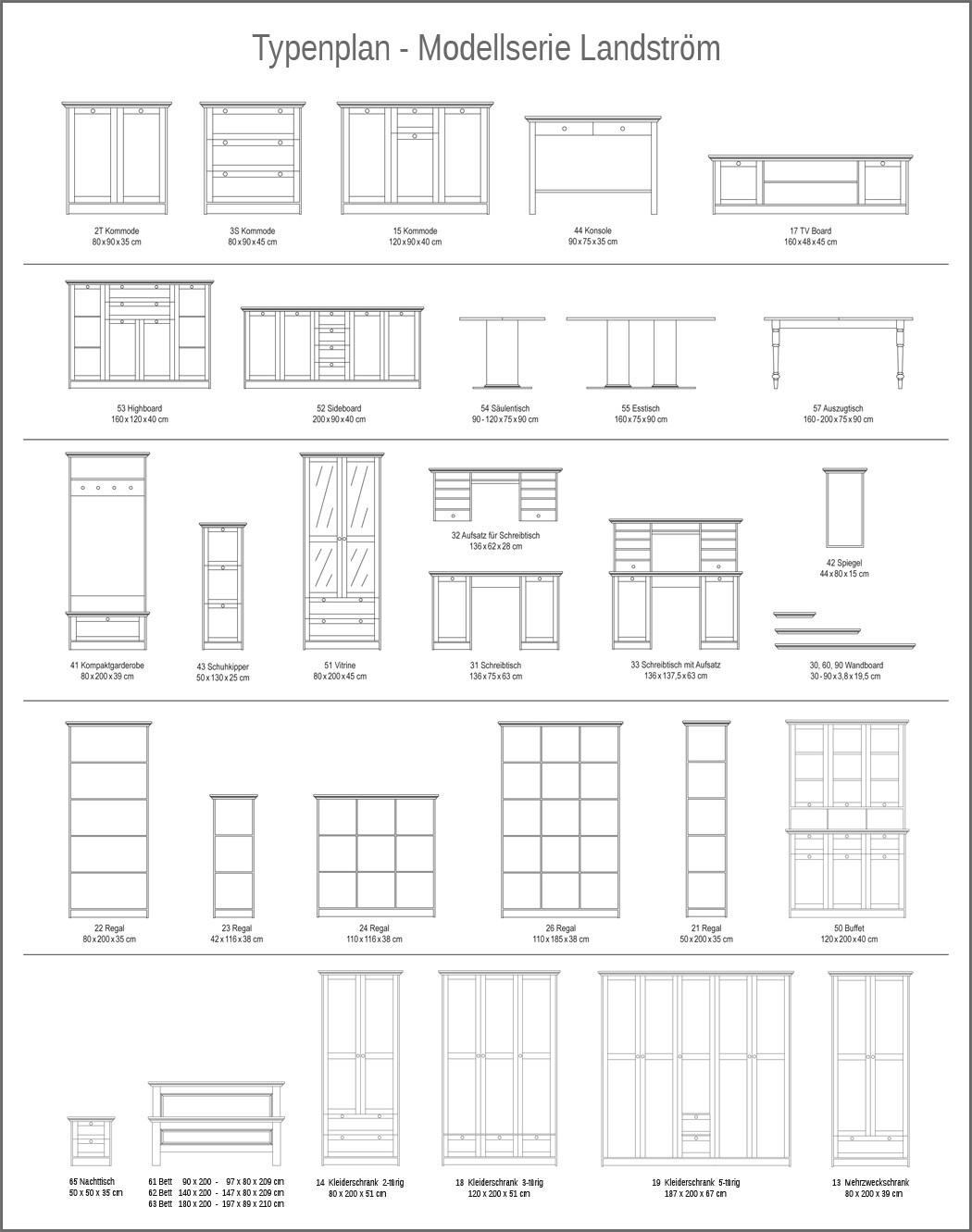 buffetschrank landstr m 50 wei 120x200x40 cm buffet. Black Bedroom Furniture Sets. Home Design Ideas