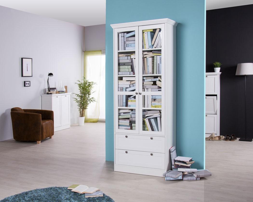 vitrine landstr m 51 wei 80x200x45 cm landhausm bel. Black Bedroom Furniture Sets. Home Design Ideas