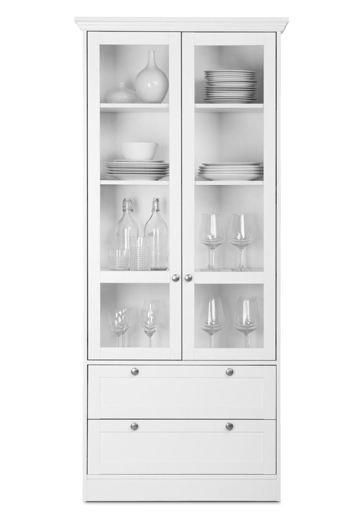 vitrine wei 80x200x45 cm landhausm bel esszimmer glasvitrine landstr m 51 ebay. Black Bedroom Furniture Sets. Home Design Ideas