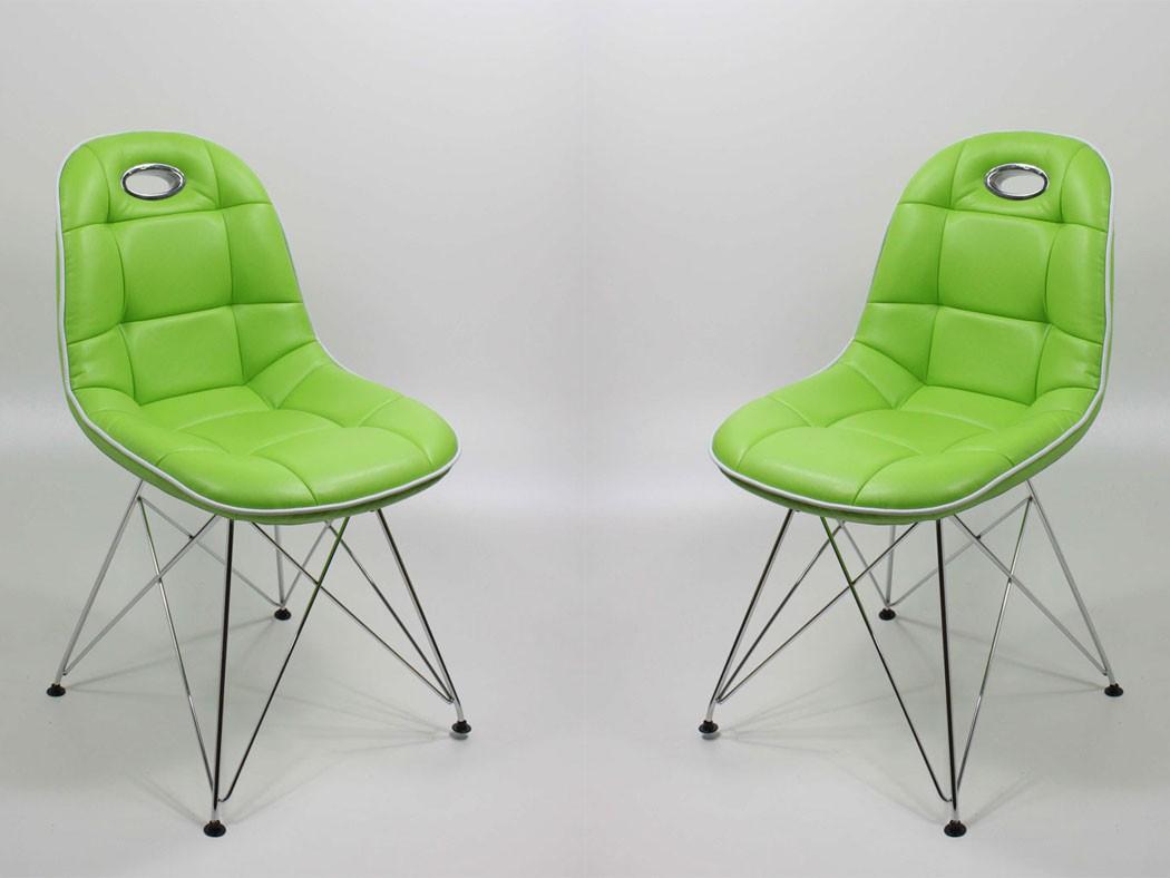 Stuhlgruppe anabel verchromt kunstleder farbe nach wahl for Schalenstuhl kunstleder