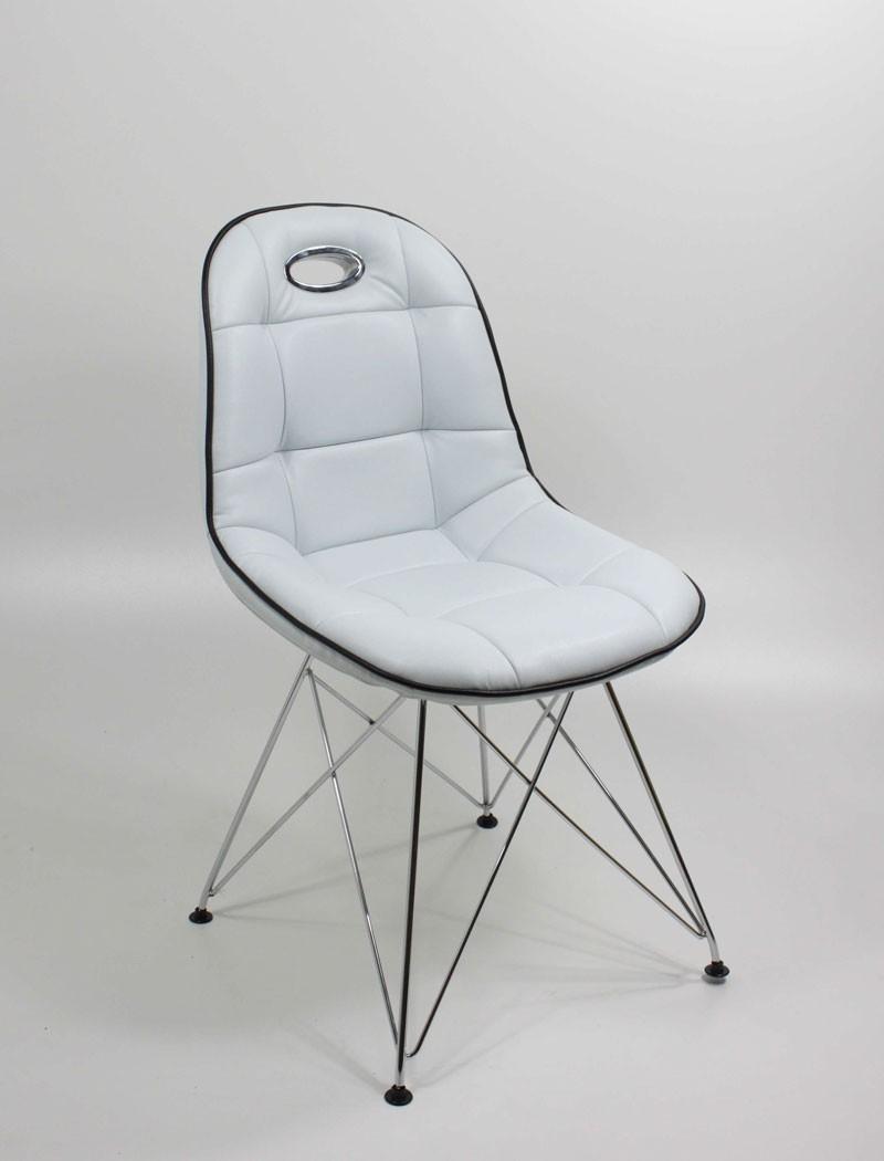 Stuhlgruppe verchromt kunstleder cremewei designerstuhl for Schalenstuhl kunstleder