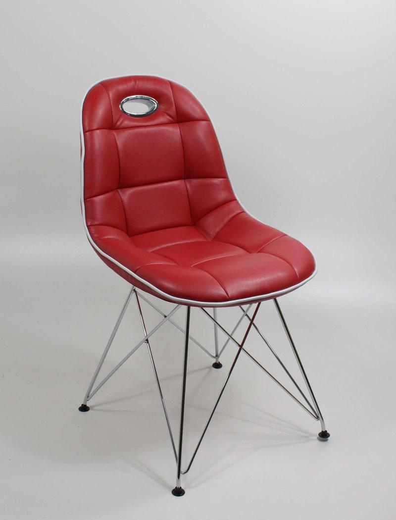 stuhlgruppe anabel verchromt kunstleder rot designerstuhl. Black Bedroom Furniture Sets. Home Design Ideas