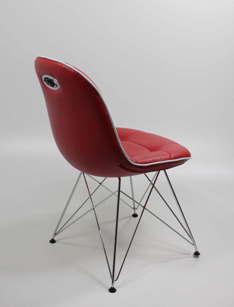 Stuhlgruppe anabel verchromt kunstleder rot designerstuhl for Esszimmer schalenstuhl